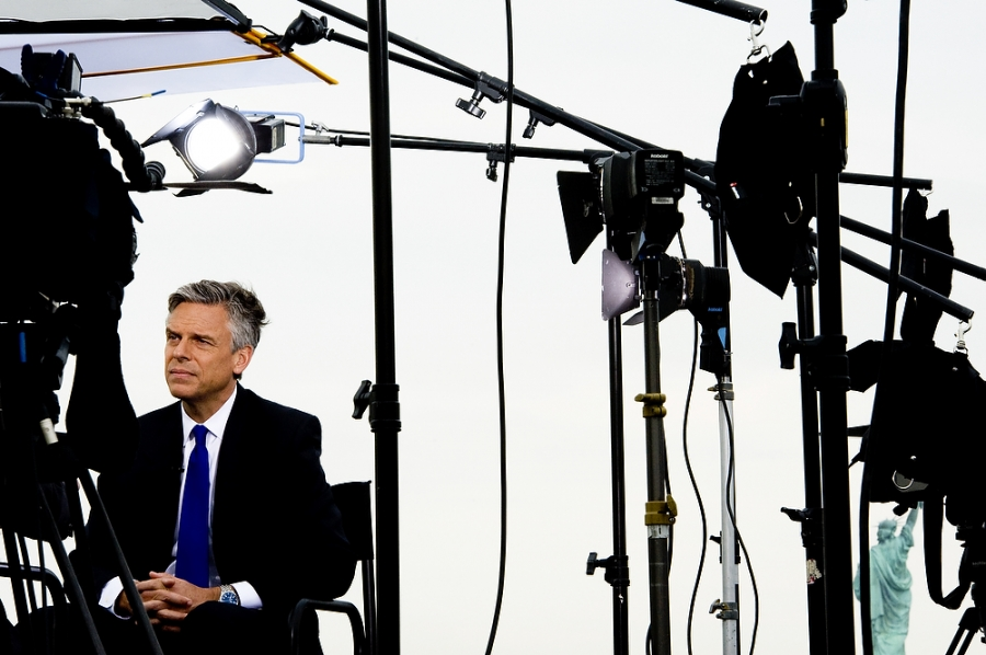 Jon Huntsman sits down for an exclusive interview with Fox 5 News after making his presidential bid announcement. (Reena Rose Sibayan/The Jersey Journal)