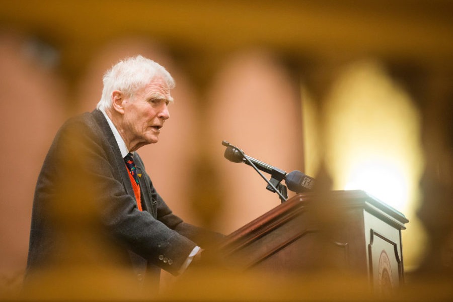 Former Gov. Brendan Byrne, 90, speaks at a book signing event at City Hall in Jersey City on Monday, Jan. 12, 2015. The book is